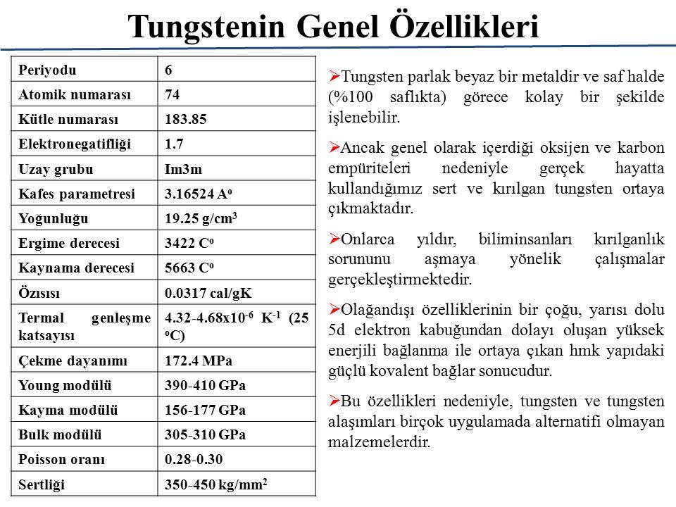 Tungstenin Genel Özellikleri Periyodu6 Atomik numarası74 Kütle numarası183.85 Elektronegatifliği1.7 Uzay grubuIm3m Kafes parametresi3.16524 A o Yoğunluğu19.25 g/cm 3 Ergime derecesi3422 C o Kaynama derecesi5663 C o Özısısı0.0317 cal/gK Termal genleşme katsayısı 4.32-4.68x10 -6 K -1 (25 o C) Çekme dayanımı172.4 MPa Young modülü390-410 GPa Kayma modülü156-177 GPa Bulk modülü305-310 GPa Poisson oranı0.28-0.30 Sertliği350-450 kg/mm 2  Tungsten parlak beyaz bir metaldir ve saf halde (%100 saflıkta) görece kolay bir şekilde işlenebilir.