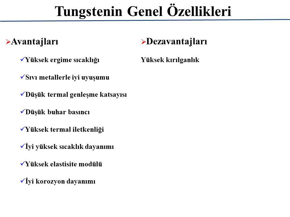 Tungstenin Genel Özellikleri Tungstenin dayanımı sıcaklık arttıkça önemli ölçüde düşer.