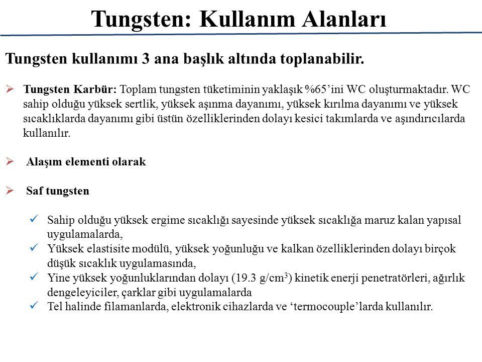 Tungsten: Rezervleri Ülkemizin tungsten rezervi ~ 64000 tondur (dünya rezervinin ~ %1,5'u).
