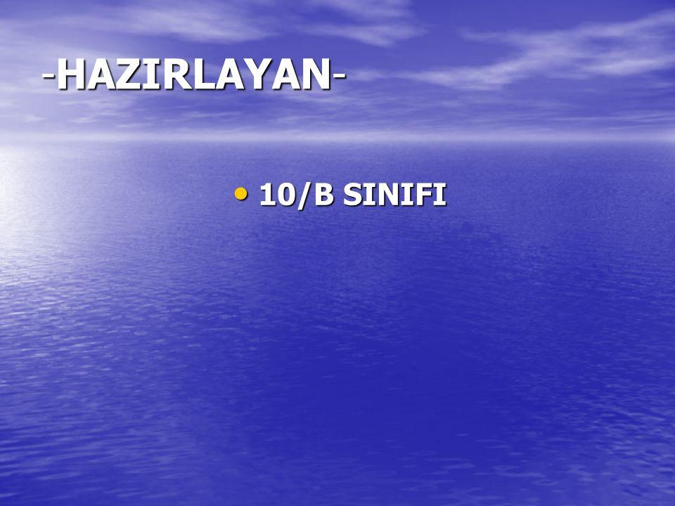 10/B SINIFI 10/B SINIFI -HAZIRLAYAN-