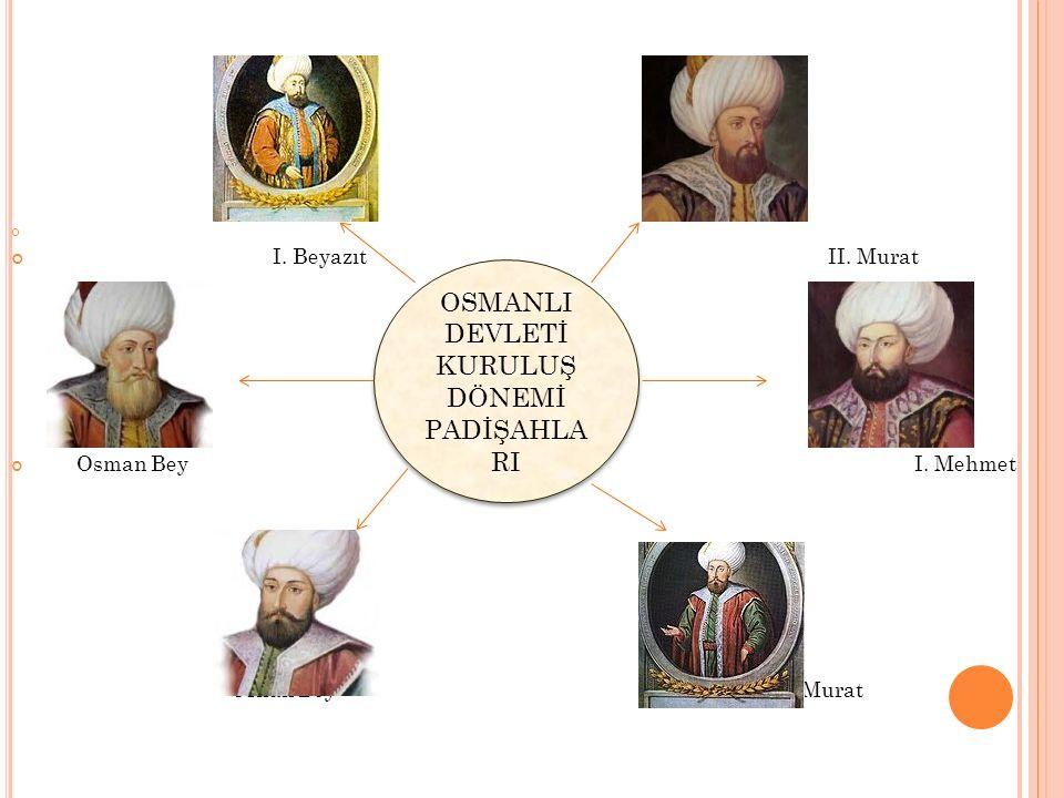 OSMANLI DEVLETİ KURULUŞ DÖNEMİ PADİŞAHLA RI I. Beyazıt II. Murat Osman Bey I. Mehmet Orhan Bey I. Murat