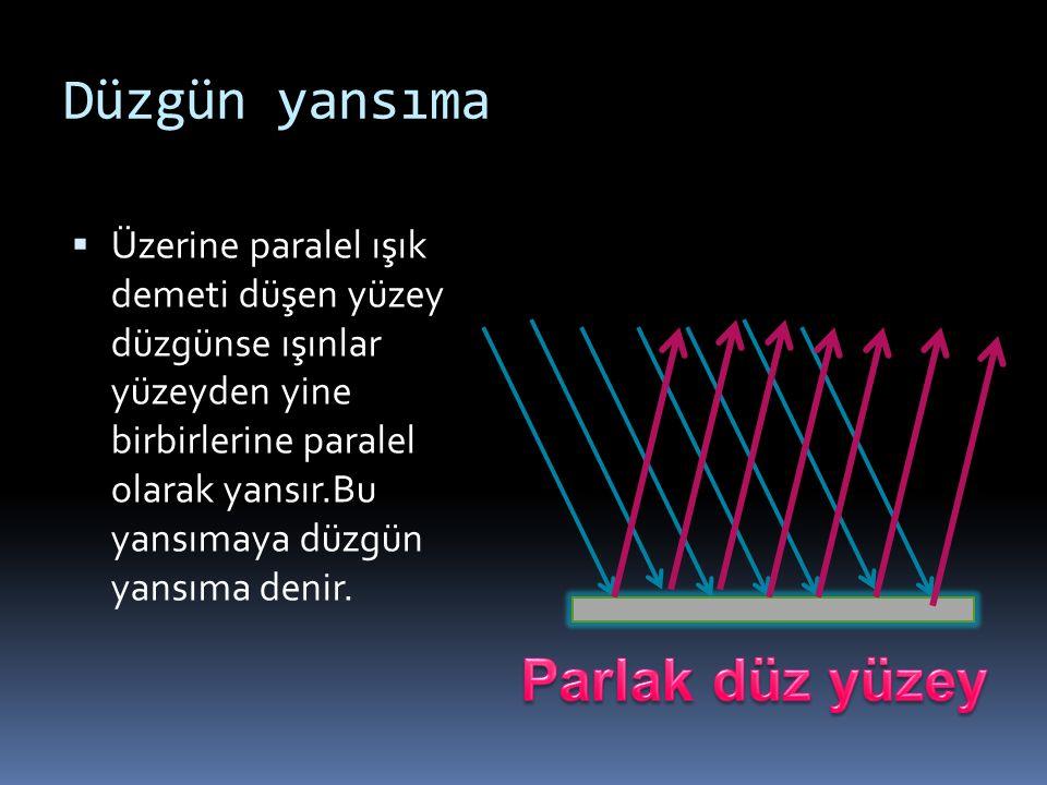 Düzgün yansıma  Üzerine paralel ışık demeti düşen yüzey düzgünse ışınlar yüzeyden yine birbirlerine paralel olarak yansır.Bu yansımaya düzgün yansıma denir.