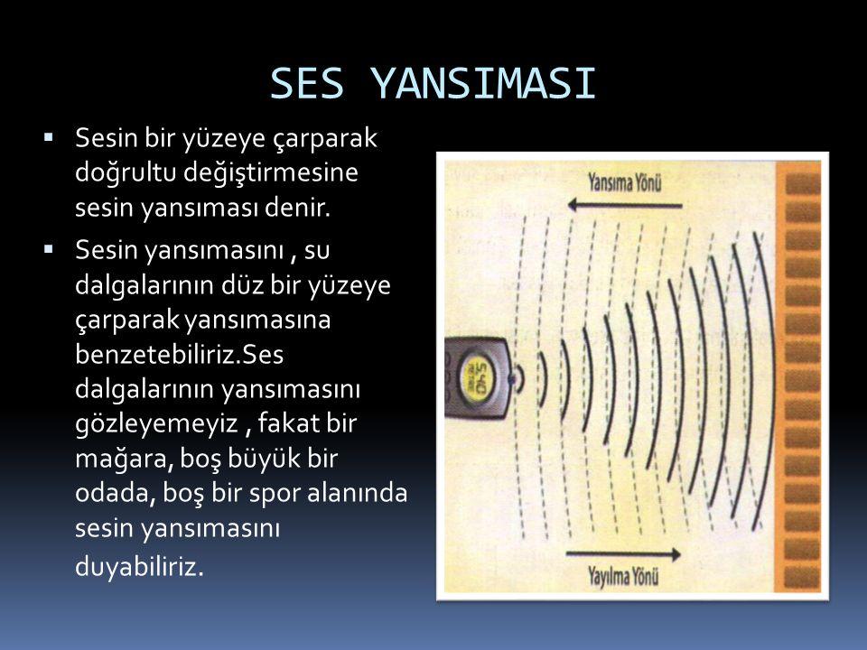 SES YANSIMASI  Sesin bir yüzeye çarparak doğrultu değiştirmesine sesin yansıması denir.  Sesin yansımasını, su dalgalarının düz bir yüzeye çarparak