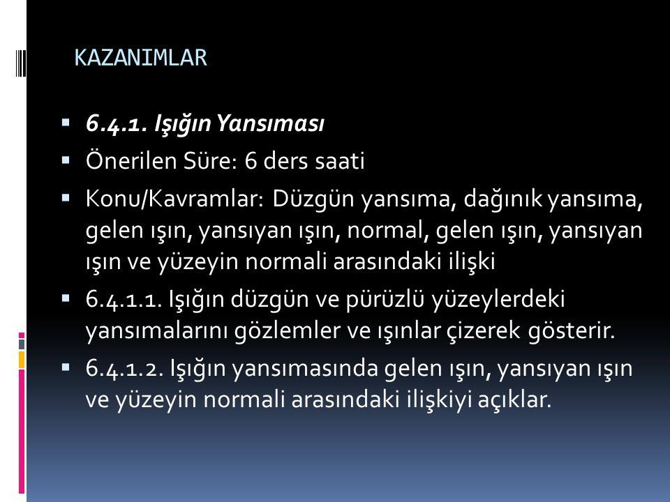 KAZANIMLAR  6.4.1.