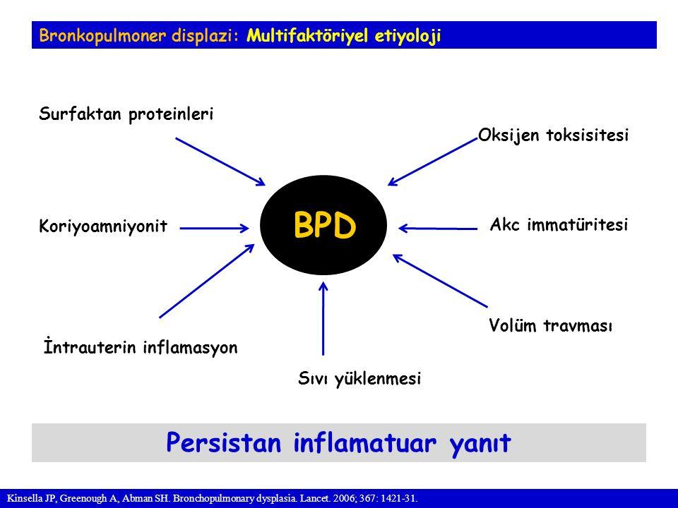 Bronkopulmoner displazi: Multifaktöriyel etiyoloji BPD Oksijen toksisitesi Volüm travması Sıvı yüklenmesi Koriyoamniyonit Surfaktan proteinleri Persistan inflamatuar yanıt Kinsella JP, Greenough A, Abman SH.