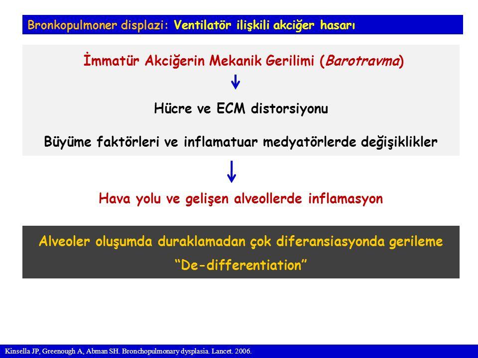 Bronkopulmoner displazi: Ventilatör ilişkili akciğer hasarı İmmatür Akciğerin Mekanik Gerilimi (Barotravma) Hücre ve ECM distorsiyonu Büyüme faktörleri ve inflamatuar medyatörlerde değişiklikler Hava yolu ve gelişen alveollerde inflamasyon Kinsella JP, Greenough A, Abman SH.