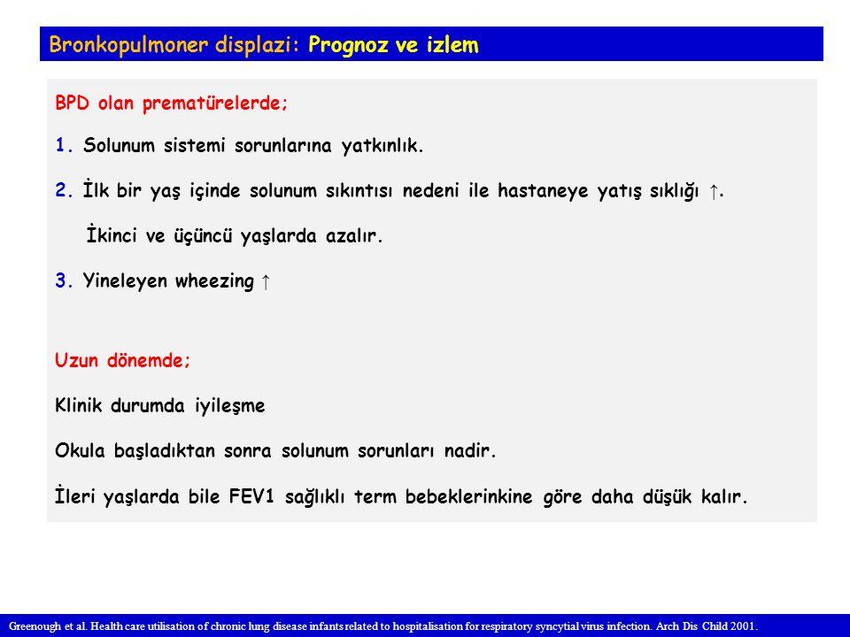 Bronkopulmoner displazi: Prognoz ve izlem BPD olan prematürelerde; 1.