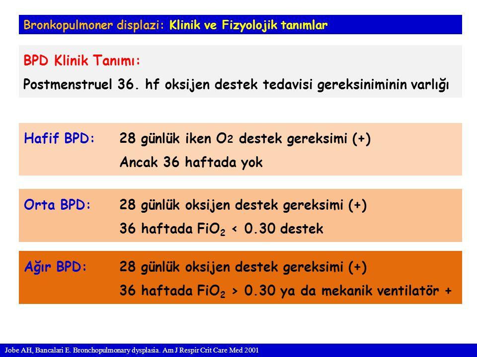 Bronkopulmoner displazi: Klinik ve Fizyolojik tanımlar BPD Klinik Tanımı: Postmenstruel 36.