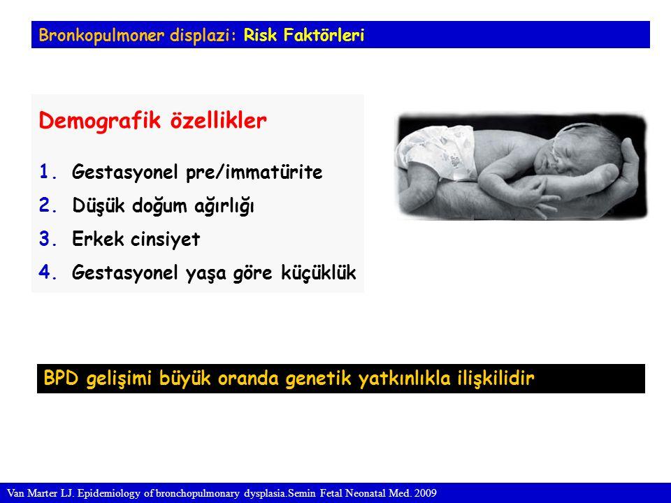 Bronkopulmoner displazi: Risk Faktörleri Perinatal ve erken neonatal risk faktörleri 1.Anneye antenatal steroid uygulanmaması 2.Koriyoamniyonit 3.Apgar skorlarının düşüklüğü 4.Perinatal asfiksi 5.Patent duktus arteriozus 6.Yüksek sıvı tedavisi 7.Mekanik ventilatör tedavisi a.Yüksek oksijen basıncı b.Yüksek PİP c.Düşük PEEP d.Hızlı ventilasyon Van Marter LJ.