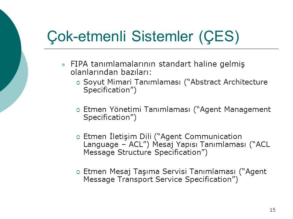 15 Çok-etmenli Sistemler (ÇES) FIPA tanımlamalarının standart haline gelmiş olanlarından bazıları:  Soyut Mimari Tanımlaması ( Abstract Architecture Specification )  Etmen Yönetimi Tanımlaması ( Agent Management Specification )  Etmen İletişim Dili ( Agent Communication Language – ACL ) Mesaj Yapısı Tanımlaması ( ACL Message Structure Specification )  Etmen Mesaj Taşıma Servisi Tanımlaması ( Agent Message Transport Service Specification )