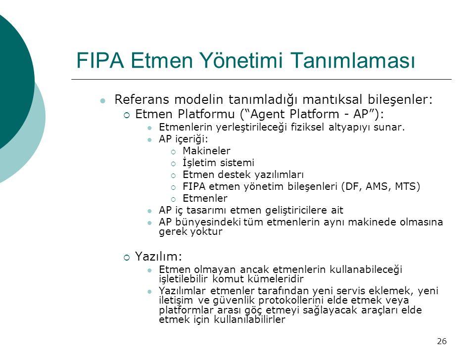 26 FIPA Etmen Yönetimi Tanımlaması Referans modelin tanımladığı mantıksal bileşenler:  Etmen Platformu ( Agent Platform - AP ): Etmenlerin yerleştirileceği fiziksel altyapıyı sunar.