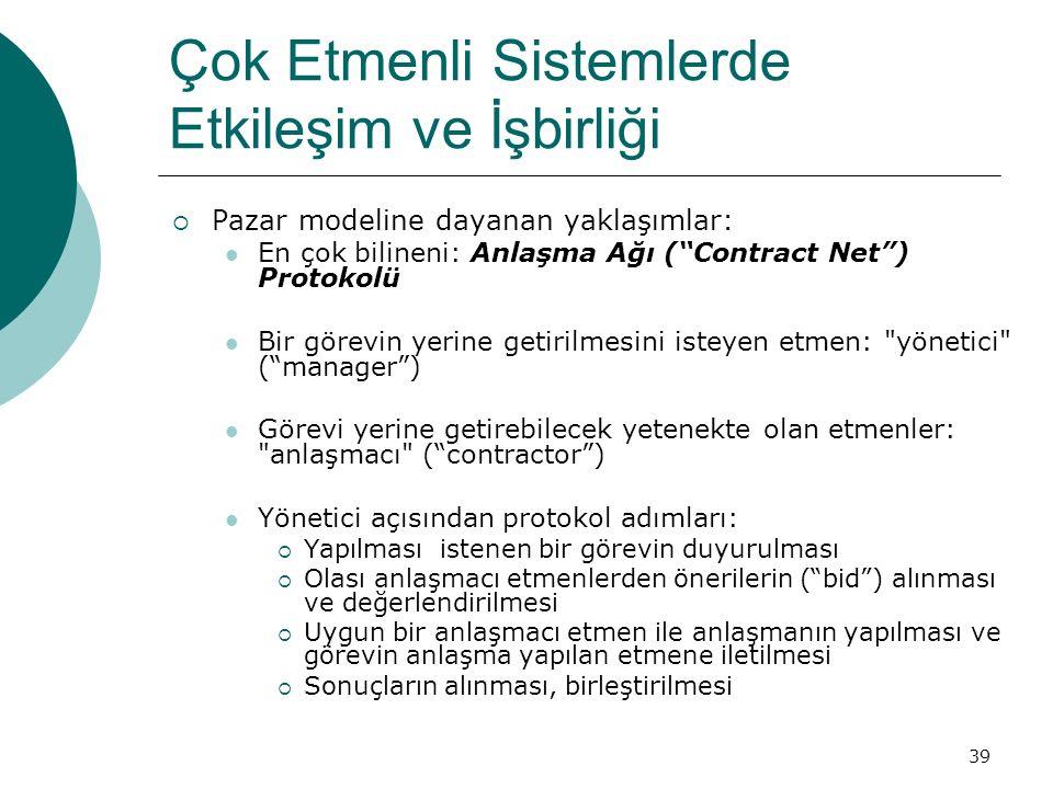 39 Çok Etmenli Sistemlerde Etkileşim ve İşbirliği  Pazar modeline dayanan yaklaşımlar: En çok bilineni: Anlaşma Ağı ( Contract Net ) Protokolü Bir görevin yerine getirilmesini isteyen etmen: yönetici ( manager ) Görevi yerine getirebilecek yetenekte olan etmenler: anlaşmacı ( contractor ) Yönetici açısından protokol adımları:  Yapılması istenen bir görevin duyurulması  Olası anlaşmacı etmenlerden önerilerin ( bid ) alınması ve değerlendirilmesi  Uygun bir anlaşmacı etmen ile anlaşmanın yapılması ve görevin anlaşma yapılan etmene iletilmesi  Sonuçların alınması, birleştirilmesi
