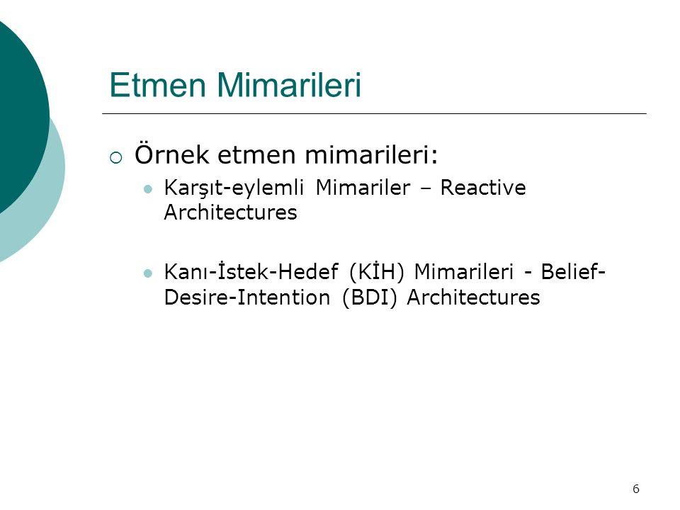 6 Etmen Mimarileri  Örnek etmen mimarileri: Karşıt-eylemli Mimariler – Reactive Architectures Kanı-İstek-Hedef (KİH) Mimarileri - Belief- Desire-Intention (BDI) Architectures