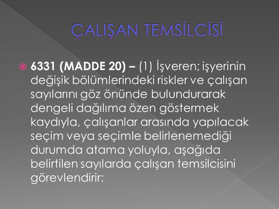  6331 (MADDE 20) – (1) İşveren; işyerinin değişik bölümlerindeki riskler ve çalışan sayılarını göz önünde bulundurarak dengeli dağılıma özen gösterme