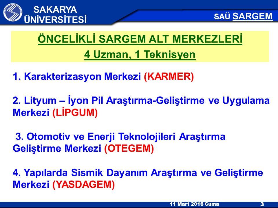 11 Mart 2016 Cuma 3 SAKARYA ÜNİVERSİTESİ SAÜ SARGEM 1.