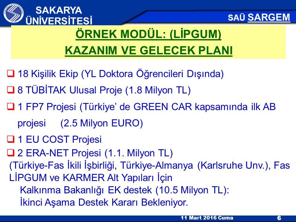11 Mart 2016 Cuma 6 SAKARYA ÜNİVERSİTESİ SAÜ SARGEM  18 Kişilik Ekip (YL Doktora Öğrencileri Dışında)  8 TÜBİTAK Ulusal Proje (1.8 Milyon TL)  1 FP7 Projesi (Türkiye' de GREEN CAR kapsamında ilk AB projesi (2.5 Milyon EURO)  1 EU COST Projesi  2 ERA-NET Projesi (1.1.