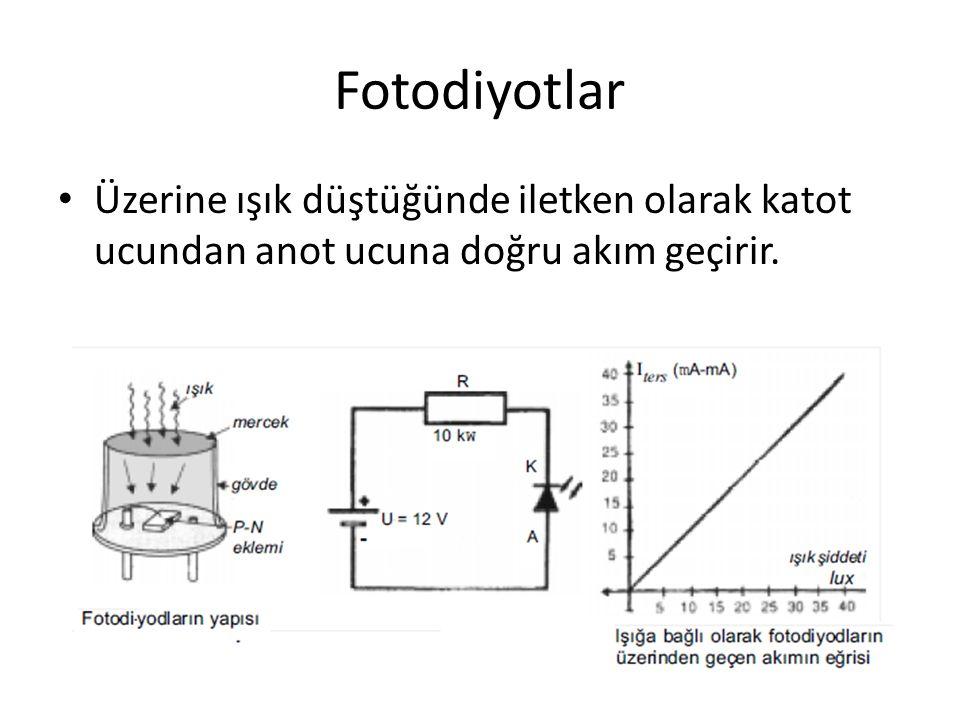 Fotodiyotlar Fotodiyodlarda mercekli kısma gelen ışığa göre katotdan anota doðru akan düşük değerli akım değişir.