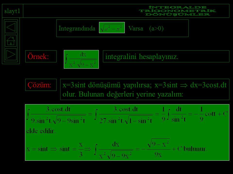 slayt1 İntegrandında Varsa (a>0) Örnek:integralini hesaplayınız.Çözüm: x=3sint dönüşümü yapılırsa; x=3sint  dx=3cost.dt olur. Bulunan değerleri yerin