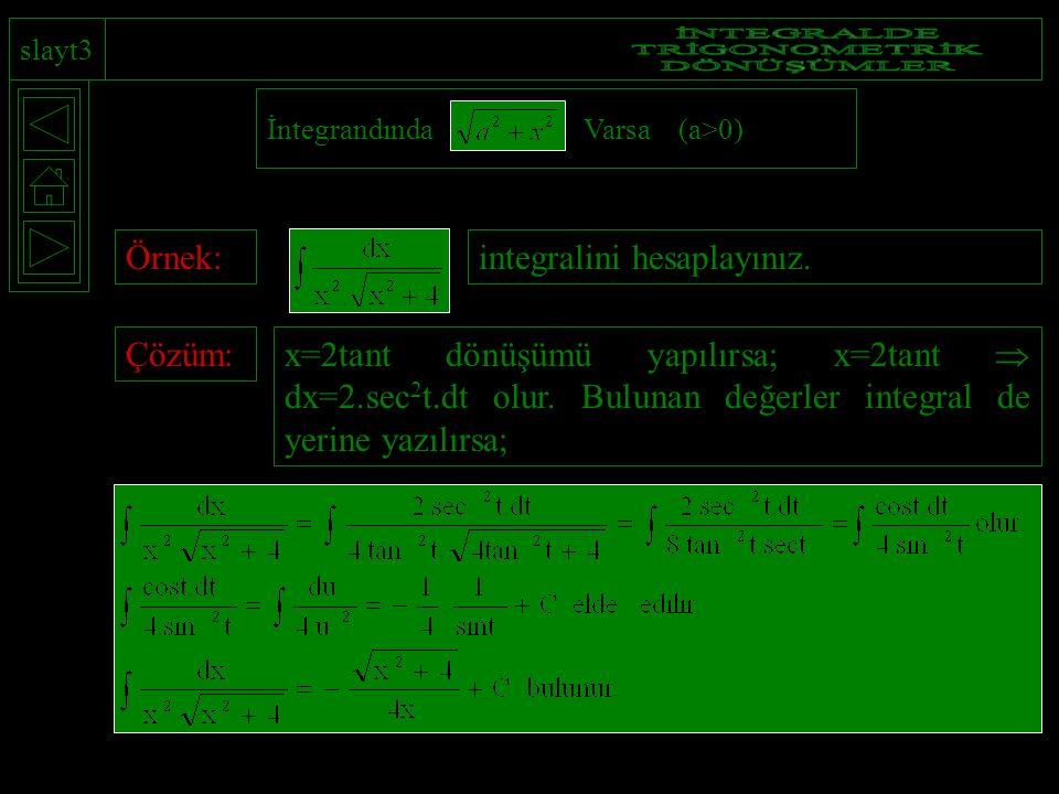 slayt3 İntegrandında Varsa (a>0) Örnek:integralini hesaplayınız.Çözüm: x=2tant dönüşümü yapılırsa; x=2tant  dx=2.sec 2 t.dt olur. Bulunan değerler in