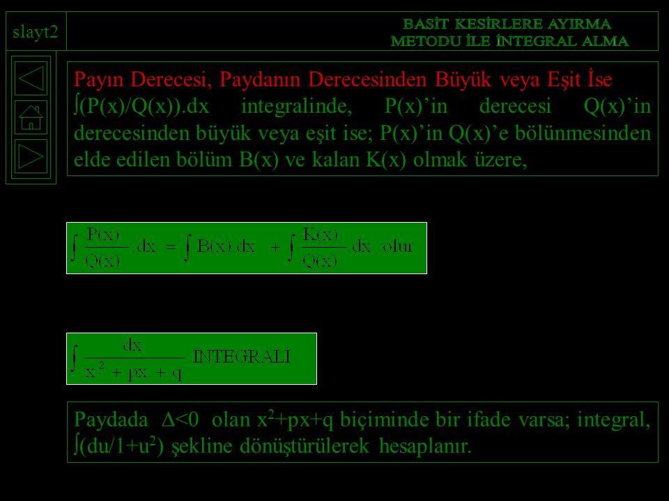 slayt2 Paydada  <0 olan x 2 +px+q biçiminde bir ifade varsa; integral,  (du/1+u 2 ) şekline dönüştürülerek hesaplanır. Payın Derecesi, Paydanın Dere