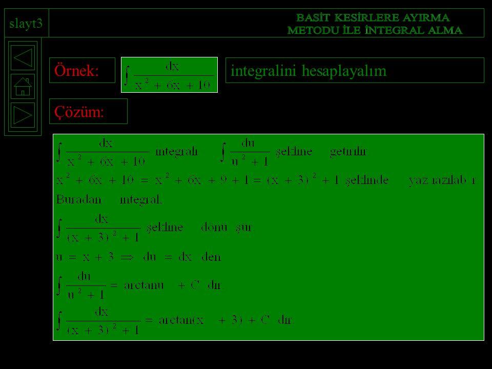 slayt3 Örnek:integralini hesaplayalımÇözüm: