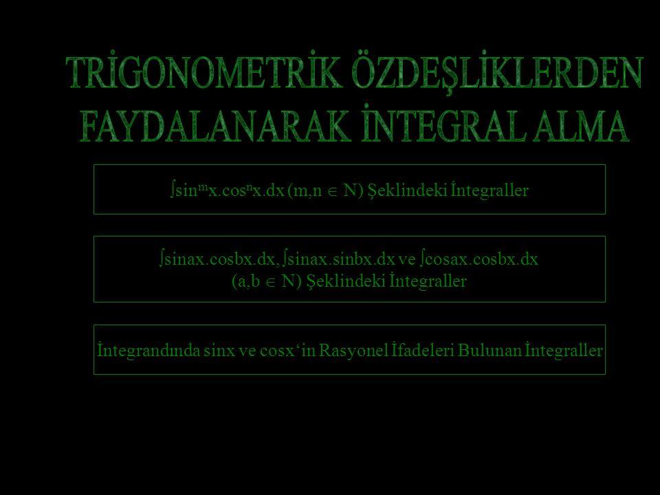  sin m x.cos n x.dx (m,n  N) Şeklindeki İntegraller  sinax.cosbx.dx,  sinax.sinbx.dx ve  cosax.cosbx.dx (a,b  N) Şeklindeki İntegraller İntegrandında sinx ve cosx'in Rasyonel İfadeleri Bulunan İntegraller