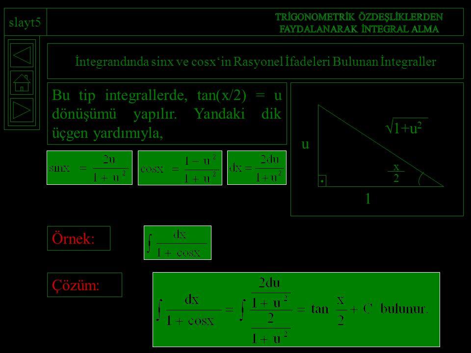 slayt5 İntegrandında sinx ve cosx'in Rasyonel İfadeleri Bulunan İntegraller  1+u 2 u 1 x 2 Bu tip integrallerde, tan(x/2) = u dönüşümü yapılır.