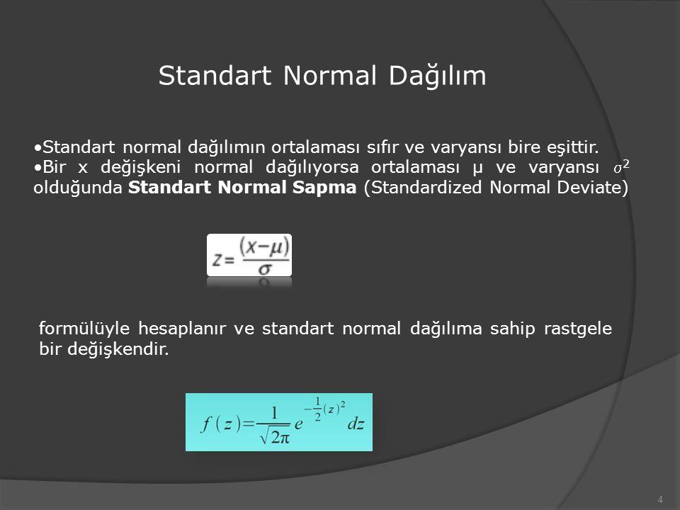 4 Standart Normal Dağılım Standart normal dağılımın ortalaması sıfır ve varyansı bire eşittir.
