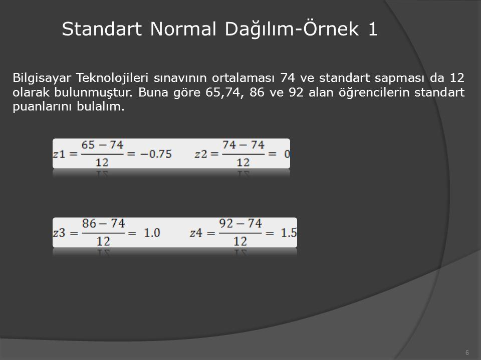 6 Standart Normal Dağılım-Örnek 1 Bilgisayar Teknolojileri sınavının ortalaması 74 ve standart sapması da 12 olarak bulunmuştur.