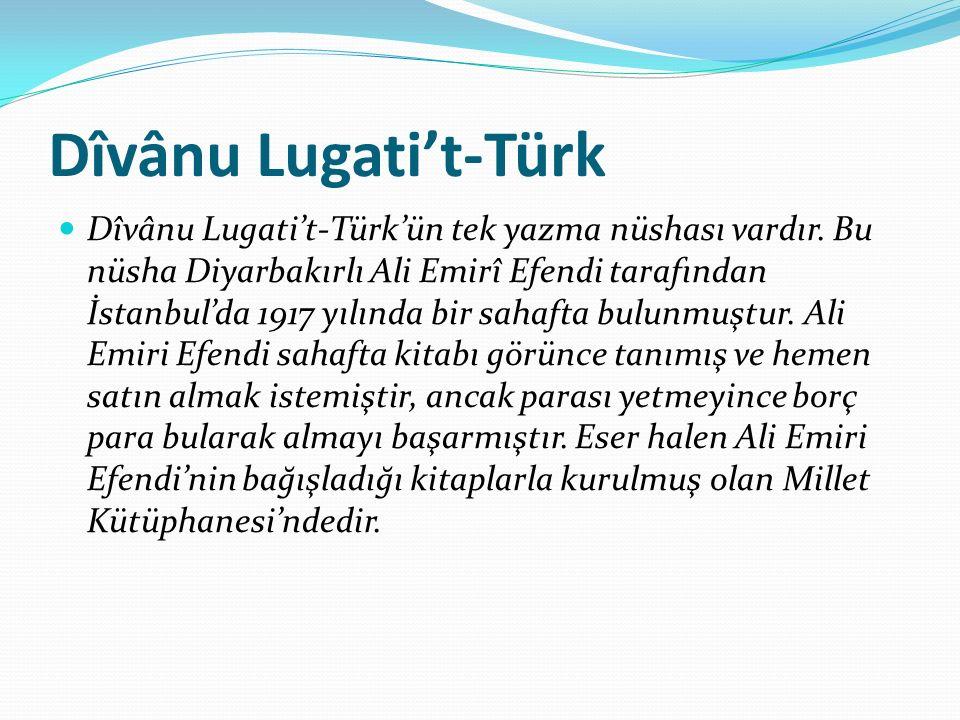 Dîvânu Lugati't-Türk Dîvânu Lugati't-Türk'ün tek yazma nüshası vardır. Bu nüsha Diyarbakırlı Ali Emirî Efendi tarafından İstanbul'da 1917 yılında bir