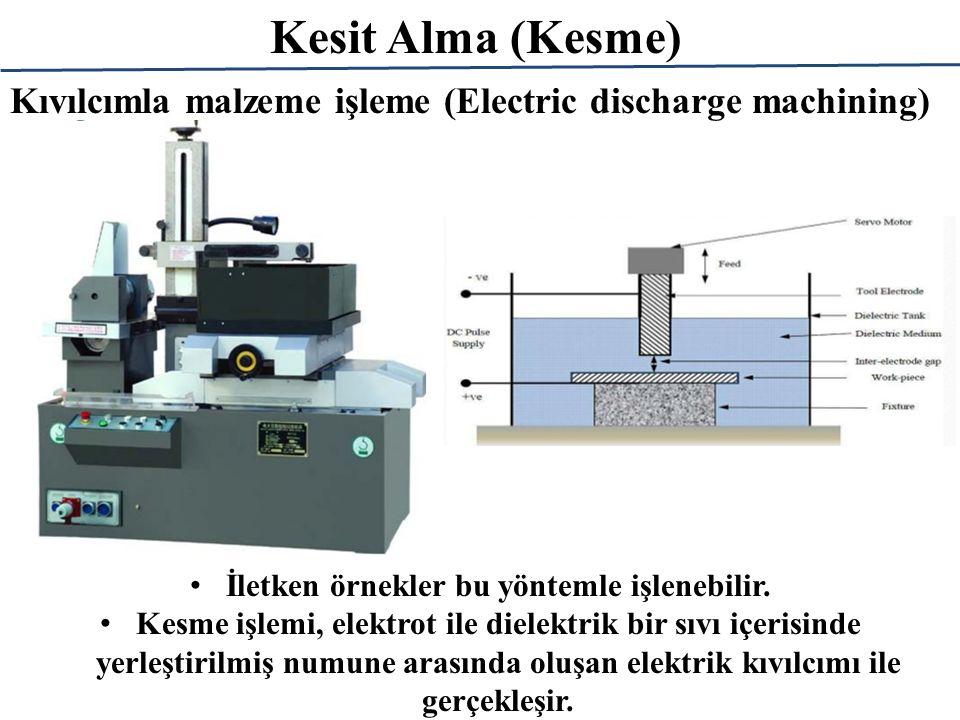 Kesit Alma (Kesme) İletken örnekler bu yöntemle işlenebilir. Kesme işlemi, elektrot ile dielektrik bir sıvı içerisinde yerleştirilmiş numune arasında