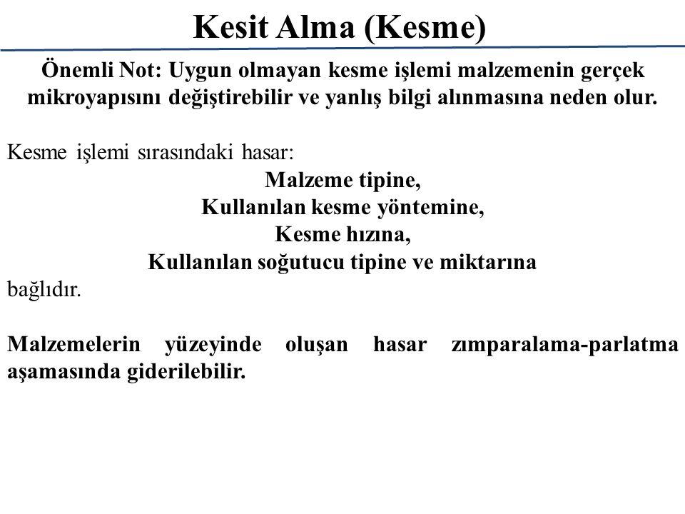 Kesit Alma (Kesme) Hasar derinliği hem malzeme tipine hem de kullanılan kesme yöntemine bağlıdır.