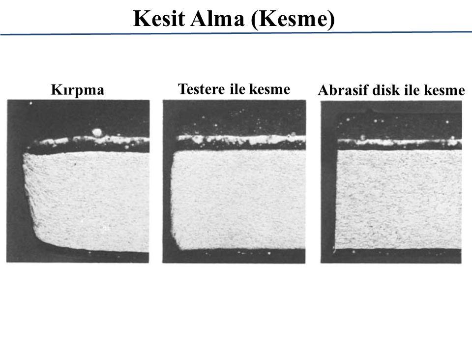 Kesit Alma (Kesme) Abrasif kesme diskleri, görece düşük kalınlıklara sahip (mm mertebesinde) dönen disklerin yüzeylerinde bulunan aşındırıcı parçacıklar sayesinde numuneleri kesmektedir.