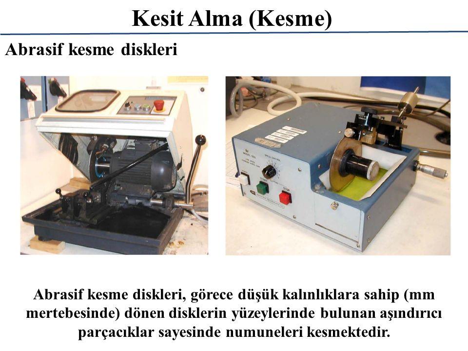 Kesit Alma (Kesme) Abrasif kesme diskleri, görece düşük kalınlıklara sahip (mm mertebesinde) dönen disklerin yüzeylerinde bulunan aşındırıcı parçacıkl