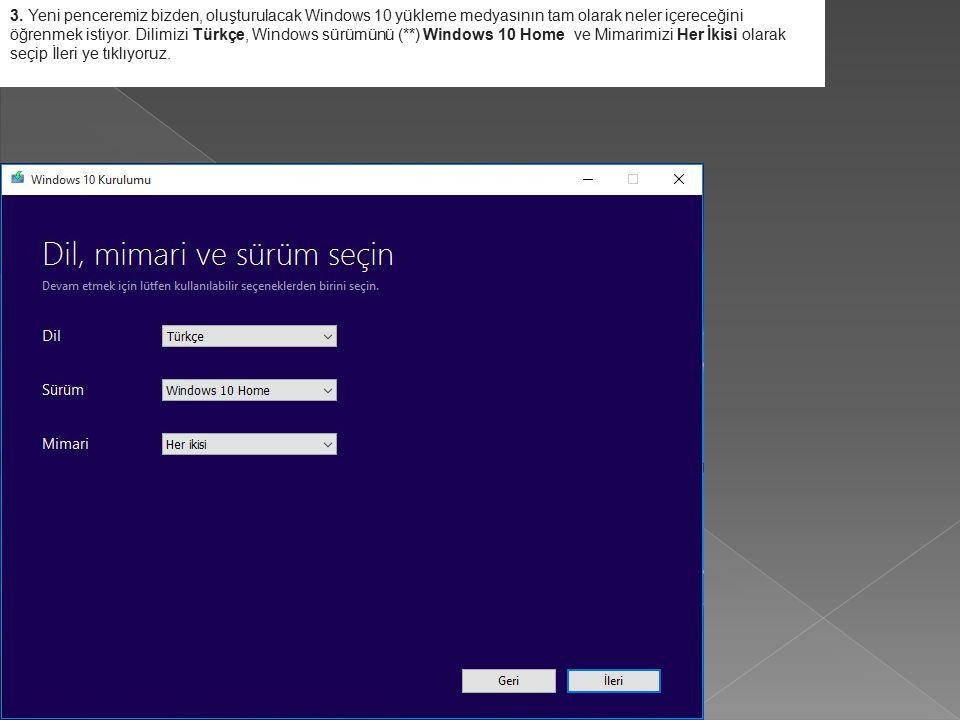3. Yeni penceremiz bizden, oluşturulacak Windows 10 yükleme medyasının tam olarak neler içereceğini öğrenmek istiyor. Dilimizi Türkçe, Windows sürümün