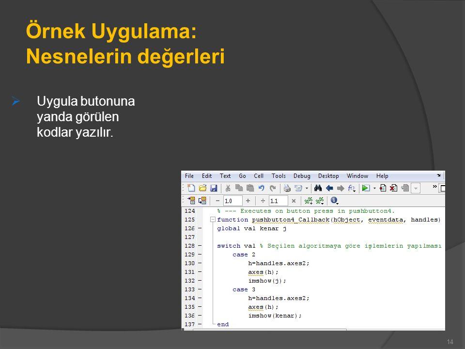 Örnek Uygulama: Nesnelerin değerleri  Uygula butonuna yanda görülen kodlar yazılır. 14
