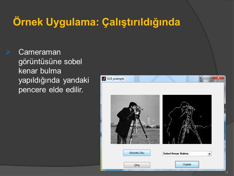 Örnek Uygulama: Çalıştırıldığında  Cameraman görüntüsüne sobel kenar bulma yapıldığında yandaki pencere elde edilir.
