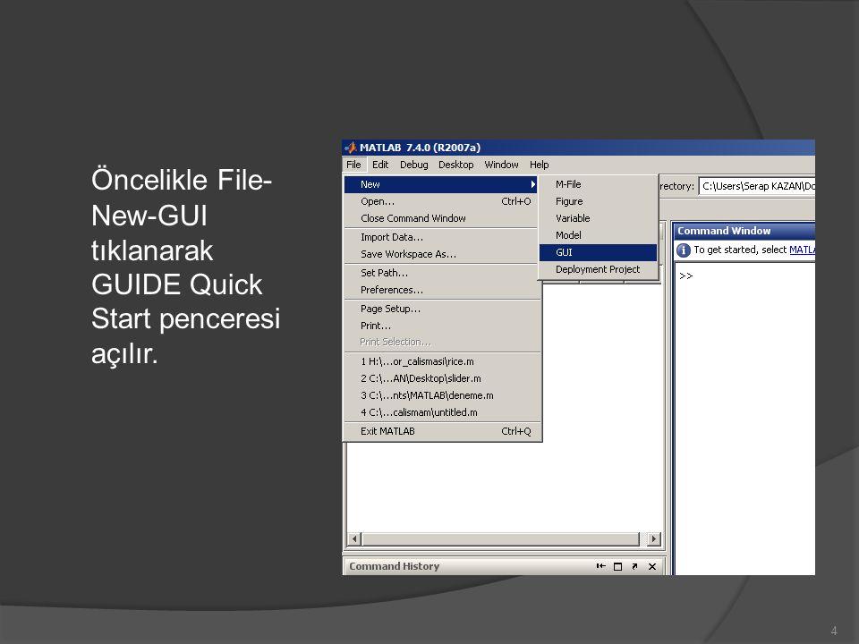 Öncelikle File- New-GUI tıklanarak GUIDE Quick Start penceresi açılır. 4