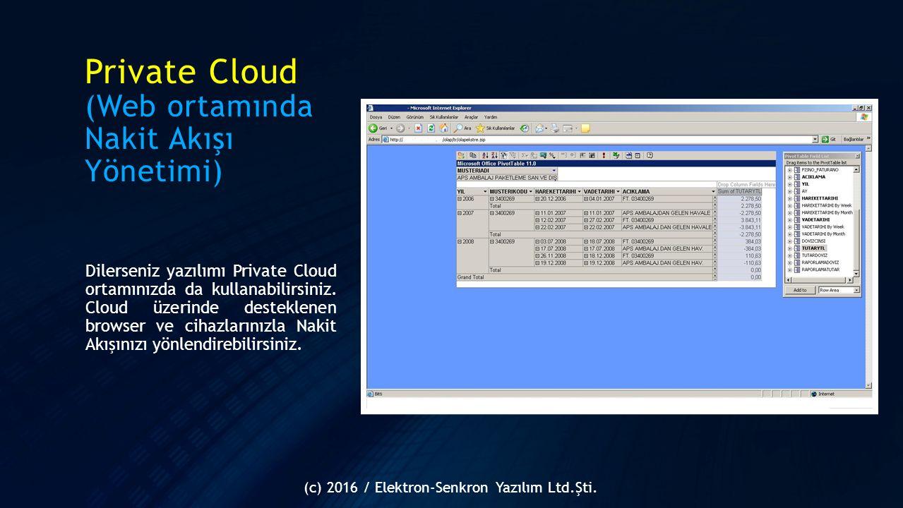Private Cloud (Web ortamında Nakit Akışı Yönetimi) Dilerseniz yazılımı Private Cloud ortamınızda da kullanabilirsiniz. Cloud üzerinde desteklenen brow