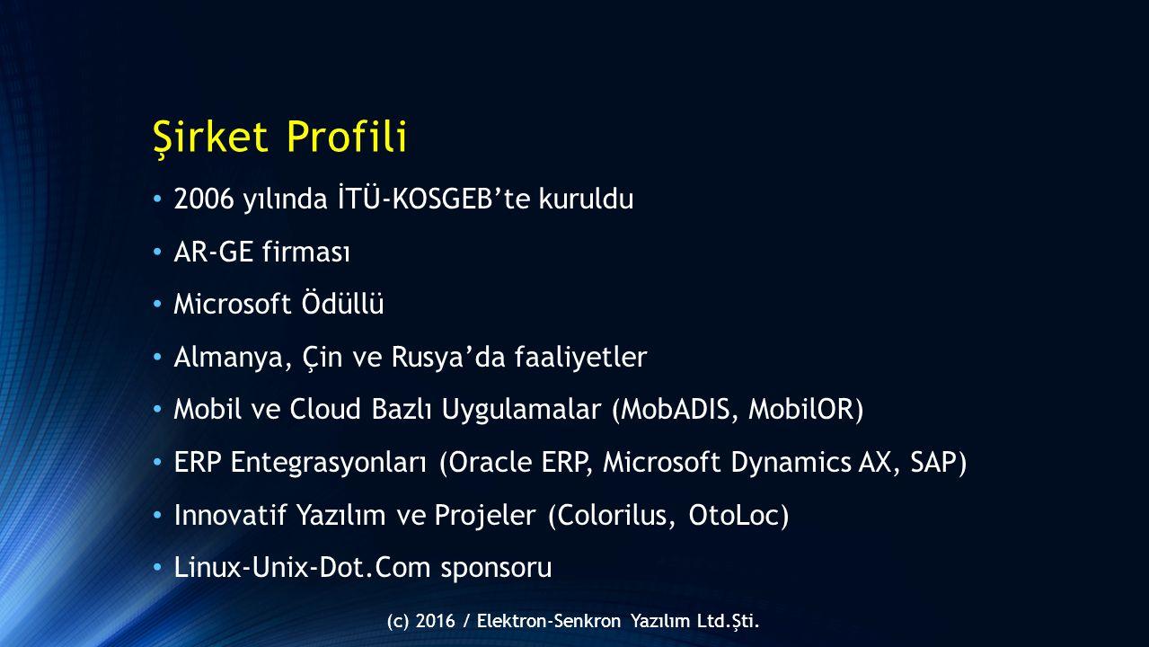 Şirket Profili 2006 yılında İTÜ-KOSGEB'te kuruldu AR-GE firması Microsoft Ödüllü Almanya, Çin ve Rusya'da faaliyetler Mobil ve Cloud Bazlı Uygulamalar