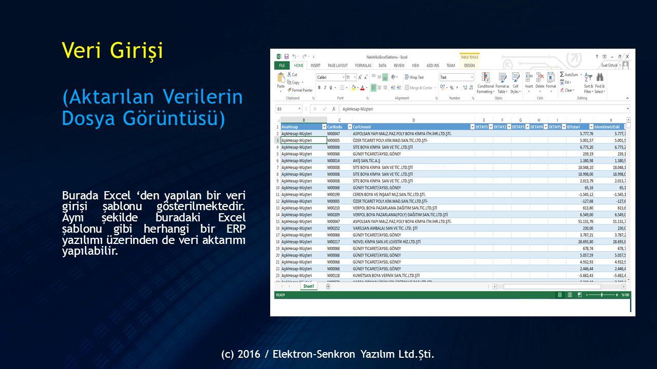 Veri Girişi (Aktarılan Verilerin Dosya Görüntüsü) Burada Excel 'den yapılan bir veri girişi şablonu gösterilmektedir. Aynı şekilde buradaki Excel şabl