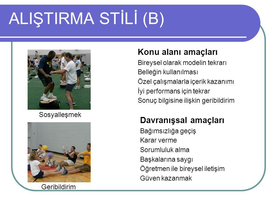 ALIŞTIRMA STİLİ (B) Konu alanı amaçları Bireysel olarak modelin tekrarı Belleğin kullanılması Özel çalışmalarla içerik kazanımı İyi performans için te