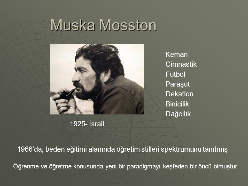 Muska Mosston 1925- İsrail Keman Cimnastik Futbol Paraşüt Dekatlon Binicilik Dağcılık Öğrenme ve öğretme konusunda yeni bir paradigmayı keşfeden bir öncü olmuştur 1966'da, beden eğitimi alanında öğretim stilleri spektrumunu tanıtmış