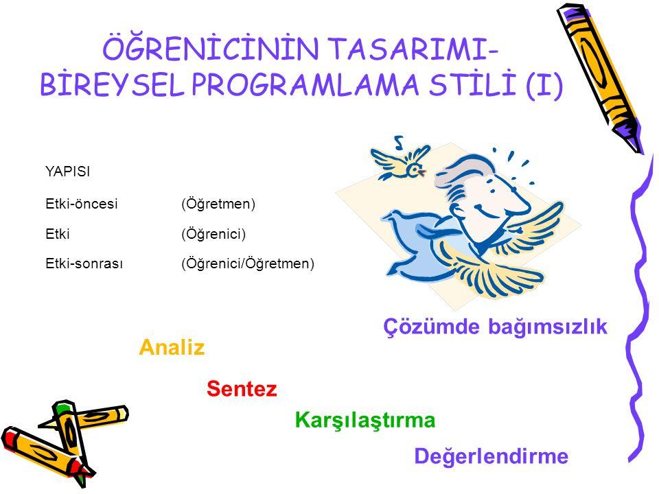 ÖĞRENİCİNİN TASARIMI- BİREYSEL PROGRAMLAMA STİLİ (I) YAPISI Etki-öncesi (Öğretmen) Etki (Öğrenici) Etki-sonrası (Öğrenici/Öğretmen) Çözümde bağımsızlık Değerlendirme Karşılaştırma Sentez Analiz