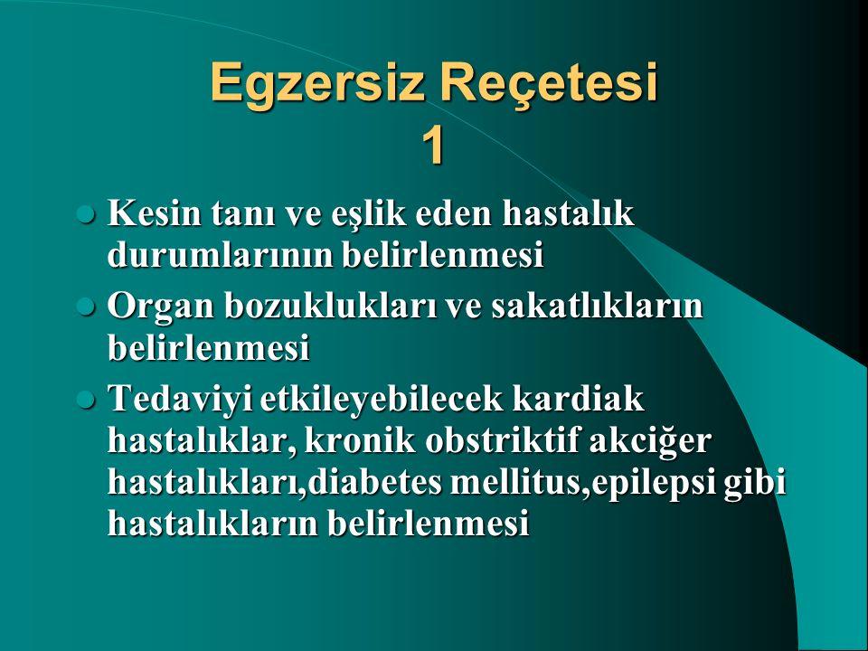 Egzersiz Reçetesi 1 Kesin tanı ve eşlik eden hastalık durumlarının belirlenmesi Kesin tanı ve eşlik eden hastalık durumlarının belirlenmesi Organ bozu