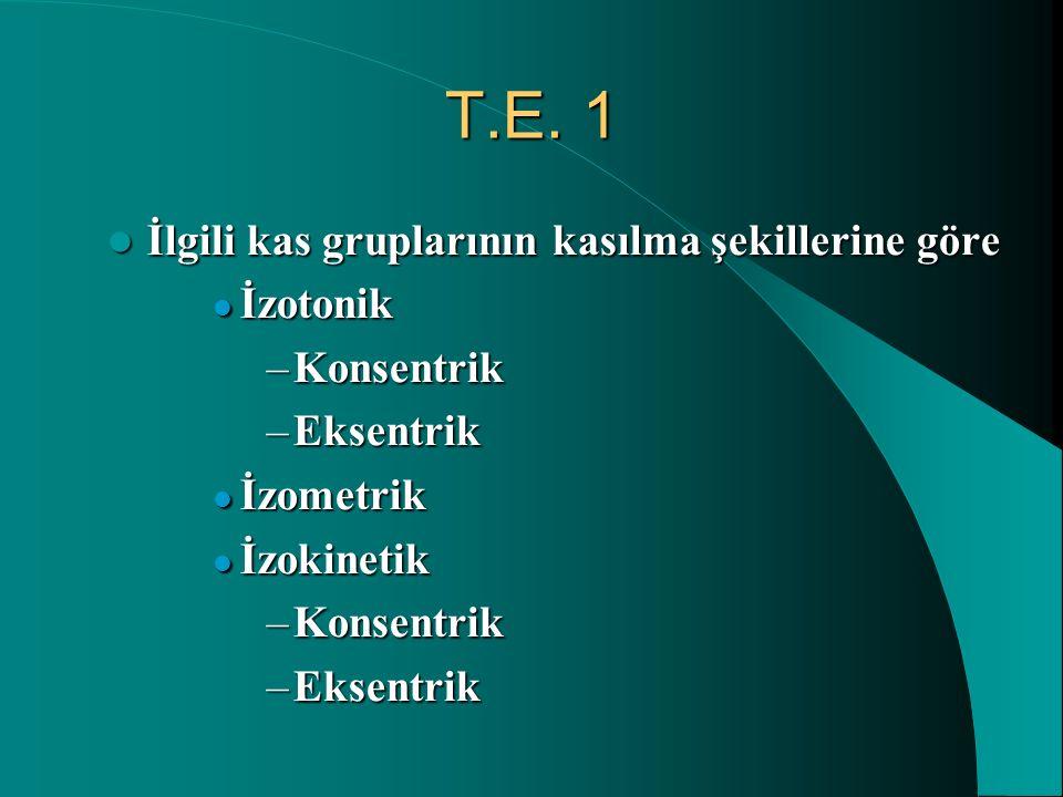 T.E. 1 İlgili kas gruplarının kasılma şekillerine göre İlgili kas gruplarının kasılma şekillerine göre İzotonik İzotonik –Konsentrik –Eksentrik İzomet