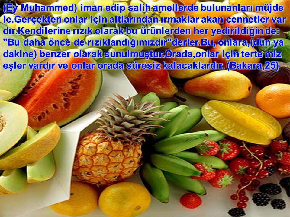 Allah a karşı gelmekten sakınanlara söz verilen cennetin durumu şöyledir: Orada bozulmayan su ırmakları, tadı değiş meyen süt ırmakları, içenlere zevk veren şarap ırmakları ve süzme bal ırmakları vardır.Orada onlar için meyvelerin her çeşidi vardır.Rablerinden de bağışlama vardır… (Muhammed,15) (Muhammed,15)