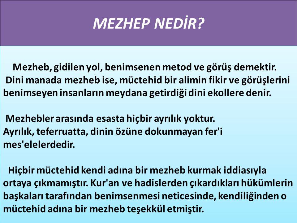 MEZHEPLE İLGİLİ BAZI TEMEL KAVRAMLAR
