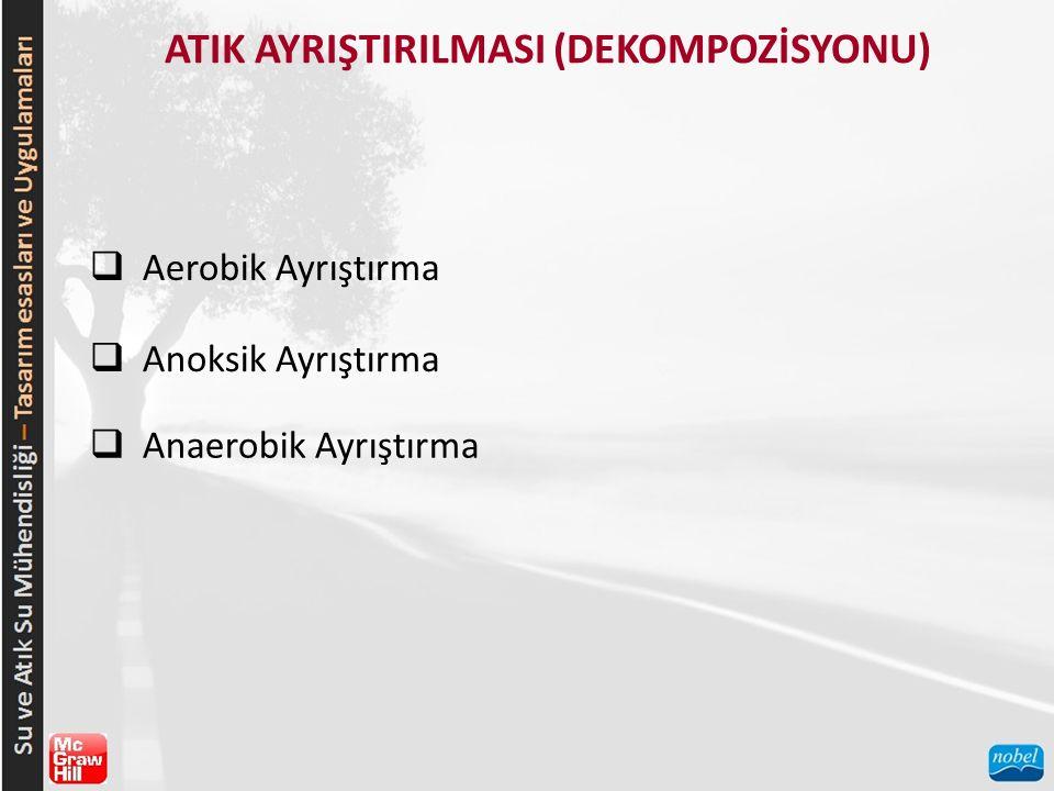 ATIK AYRIŞTIRILMASI (DEKOMPOZİSYONU)  Aerobik Ayrıştırma  Anoksik Ayrıştırma  Anaerobik Ayrıştırma