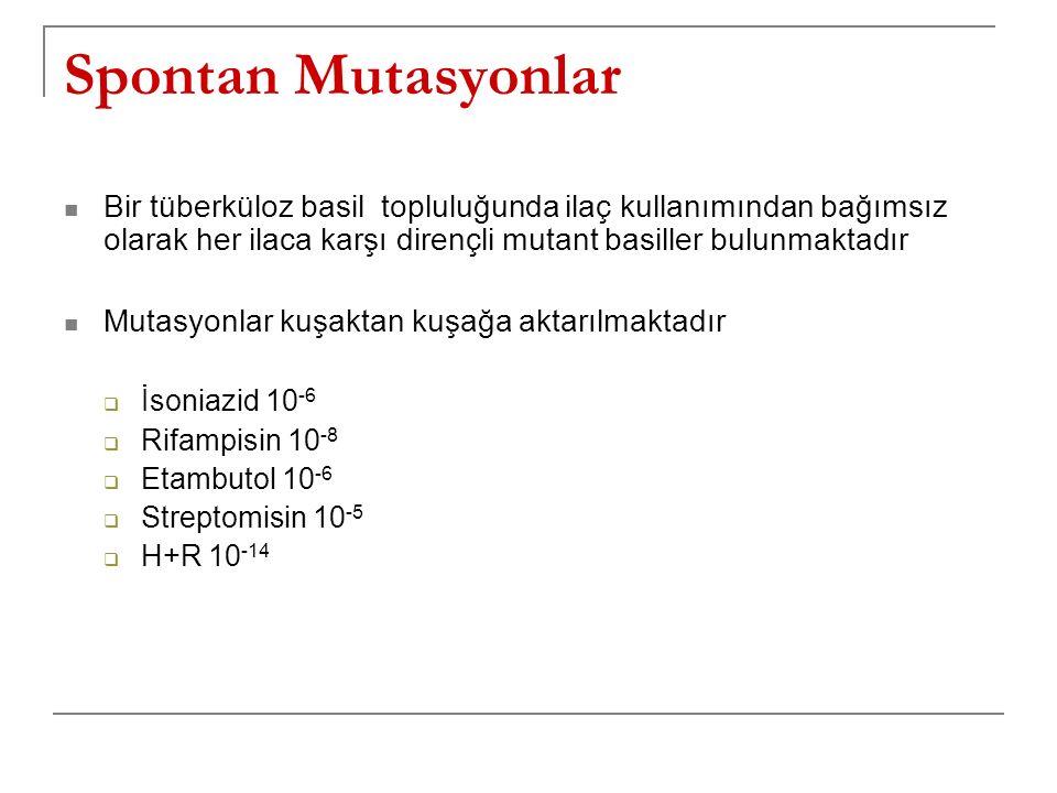 Spontan Mutasyonlar Bir tüberküloz basil topluluğunda ilaç kullanımından bağımsız olarak her ilaca karşı dirençli mutant basiller bulunmaktadır Mutasy